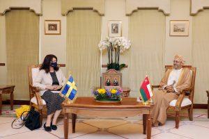 معالي السيد يستقبل وزيرة خارجية مملكة السويد